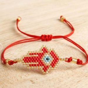 Jewelry - Evil eye and palm hand woven miyuki bracelet